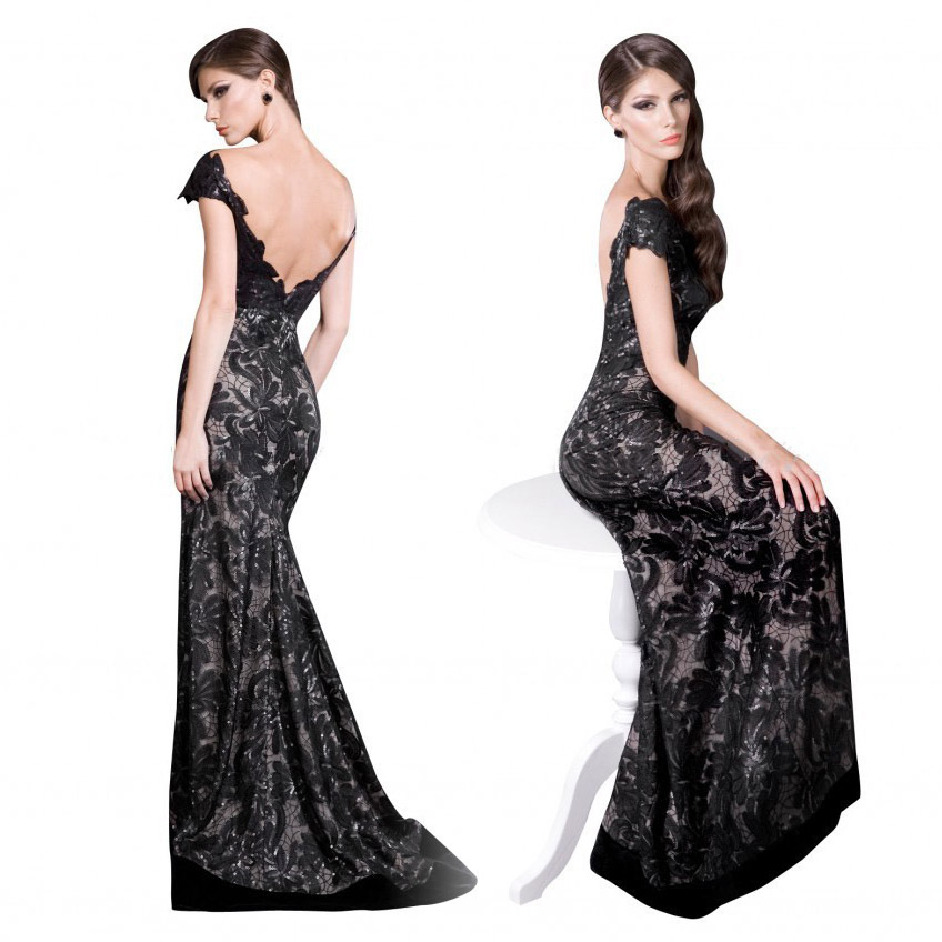 2022f87182bfa Black Lace V Neck Backless Mermaid Prom Dress 2015 Cap Sleeves Evening  Party Dress Vestido De Festa Longo Abendkleider LF1728