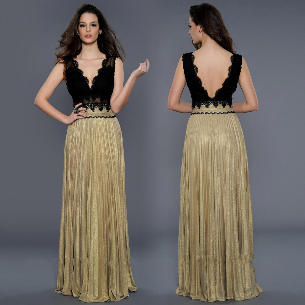 Gold black long evening dresses